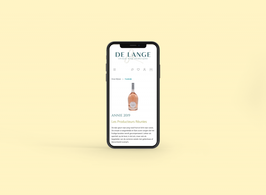 Wijnkooperij de Lange mockup van productpagina op iPhone